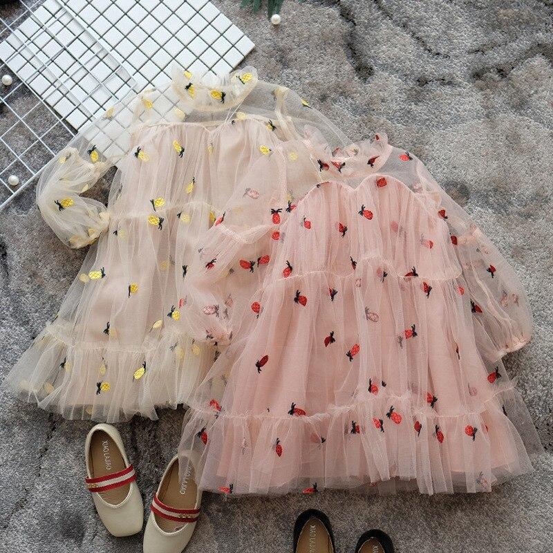 Летнее платье принцессы для маленьких девочек, модные новые сетчатые платья с рукавами-фонариками для девочек, детское платье для вечеринк...