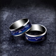 Mood Ring Color Temperature Changing Magic rings for Lovers Heartbeat ECG Wedding Rings for Men Fashion Jewelry for Women(China)
