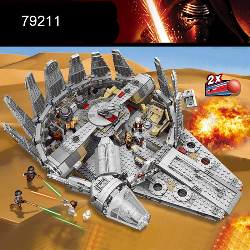 79211 1381pcs Building Blocks  Star War Force Awakens Millennium Falcon Model Kits Rey  compatiable with major brand