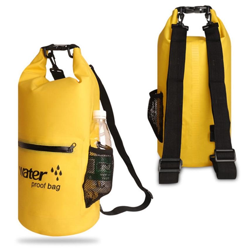 10/20L PVC Waterproof Bag Storage Dry Bag Swimming Bag for Canoe Kayak Rafting Camping River Trekking with Exterior Zip Pocket