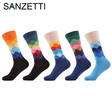 SANZETTI 5 pairs/lot Men's Colorful Argyle Combed Cotton Socks Funny Casual Mid