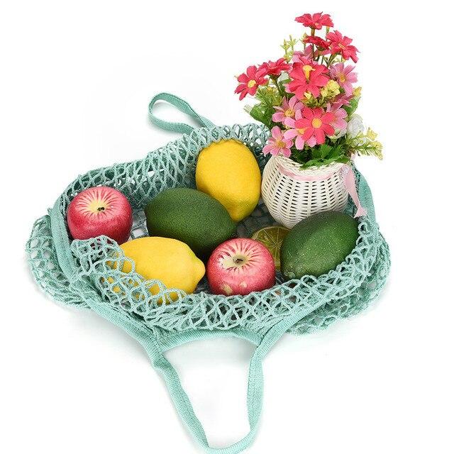 2019 Nova Malha Net Tartaruga Saco de Corda Saco de Compras Reutilizável Bolsa Totes Mulheres Malha Saco de Compras Saco de Compras de Armazenamento De Frutas