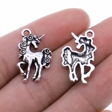WYSIWYG 20szt Charms koń jednorożec 23x15mm antyczne srebro kolor Plated zawieszki dokonywanie DIY Handmade znalezienie biżuterii tanie tanio CN (pochodzenie) Ze stopu cynku Animals Metal Archiwalne