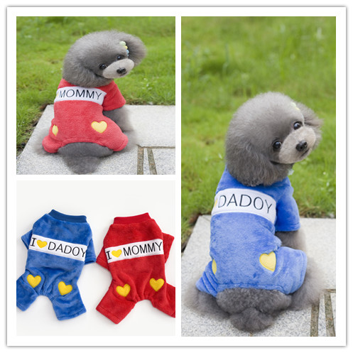 FY64 Hot sale Winter clothes for pet dogs Warm Fleece 4 legs clothes Love Mommy Daddy Small mediumn dog Jumpsuit Overall clothes