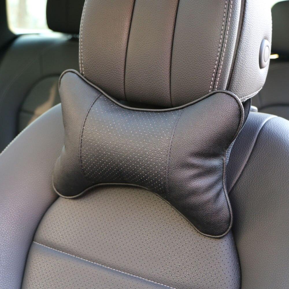 2 PCS Artificial Leather Car Pillow Protection Your Neck/car Headrest Hole-digging Design/auto Supplies Safety Neck Pillow