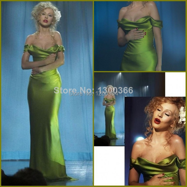 4f7cb7494bd Christina Aguilera Green Dress Burlesque Celebrity Prom Gowns in Movies  Sexy Sheath Green Custom made Long Evening Party Gown