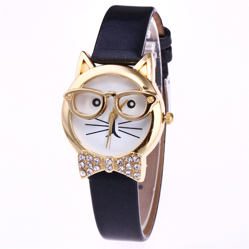 Cute Glasses Cat Watch Clock Montre femme Women Rhineston Quartz Dial Wrist Watch Famous brand Ladies watches 2018 Female Hour newly design dress ladies watches women leather analog clock women hour quartz wrist watch montre femme saat erkekler hot sale