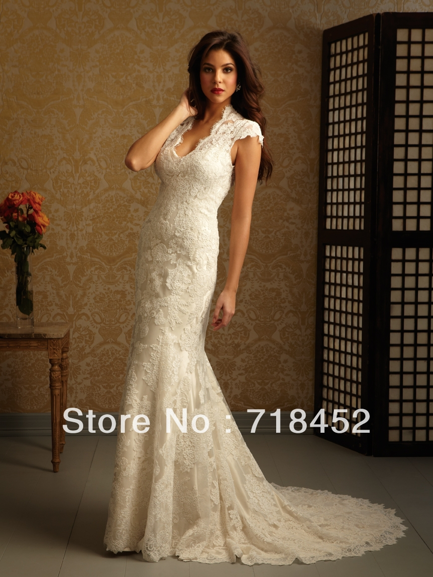 2014 vintage lace wedding dresses keyhole back bridal gown for Lace cap sleeve keyhole back wedding dress