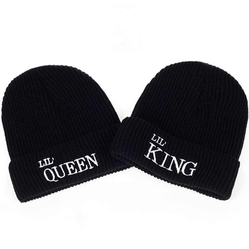 2017 New kid king queen Letter Autumn And Winter Beanies hat hildren Boys  And Girls Bones bc8fc4a44fde