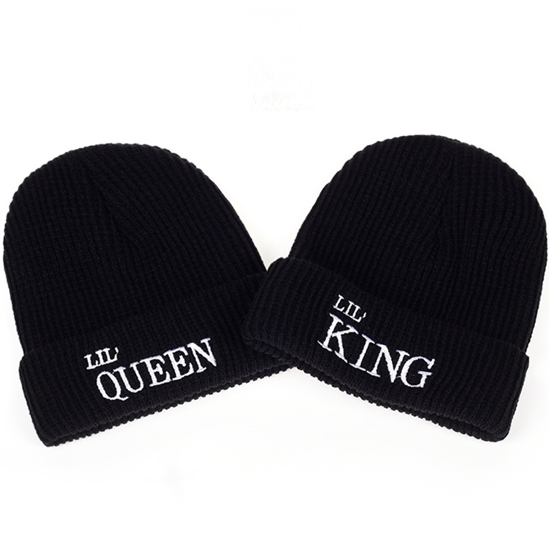 2017 New Kid King Queen Letter Autumn And Winter Beanies Hat Hildren Boys And Girls Bones Snapback Hip Hop Fashion Warm Cap Hats