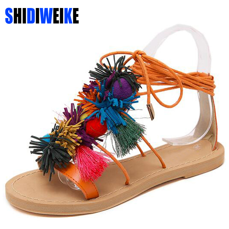 Summer New Colorful Fringe Flower Ball PomPom Sandals Sandals Flat with Roman Gladiator High Lace Thong Flip Flop Shoes Woman new pompom wild thing fringe suede sandals women summer wlegance