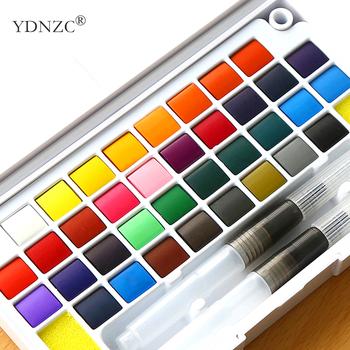 Wysokiej jakości stałe pigmenty farby akwarelowe zestaw z kolorem wody przenośna szczotka pióro do profesjonalny obraz dostaw sztuki tanie i dobre opinie YDNZC 8 ml Professional Art Supplies 6 lat Kolor farby wody Paper