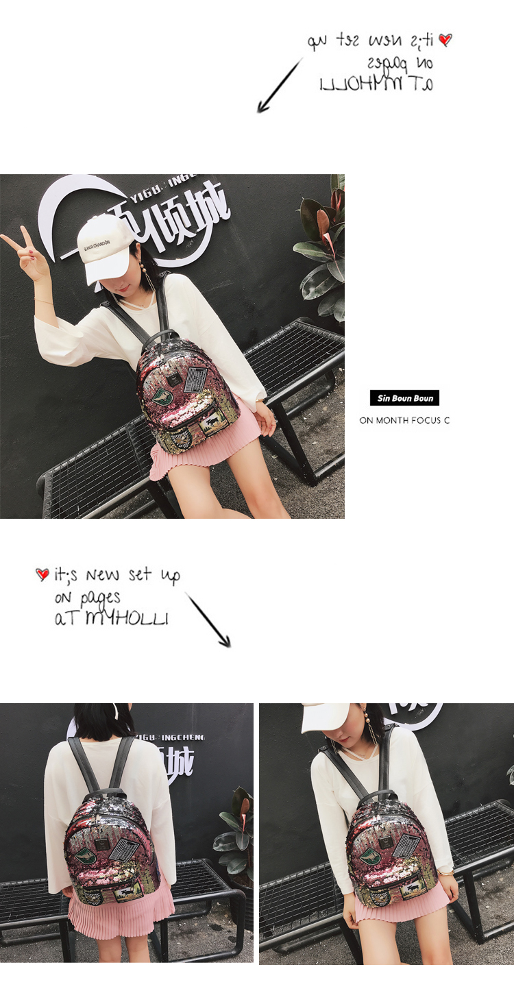 Sequin Backpack Korean version 2018 New Personality Badge Fashion Backpack Wild Casual 15