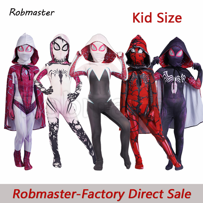 Spiderman Gwen Stacy Costume Lycra Zentai Venom Symbiote Spiderman Costume For Halloween Cosplay Spider Suit For Kids Costumes