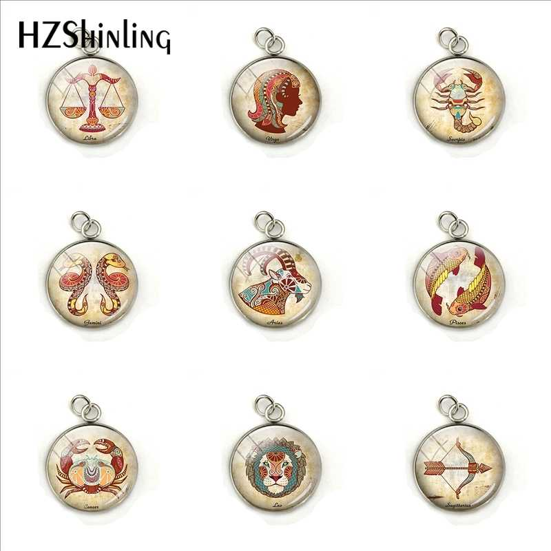 Fashion 12 Horoscope Signs Round Pendants Handmade Zodiac Pisces Cancer Leo Sign Jewelry Glass Dome Jewelry Charms Gifts