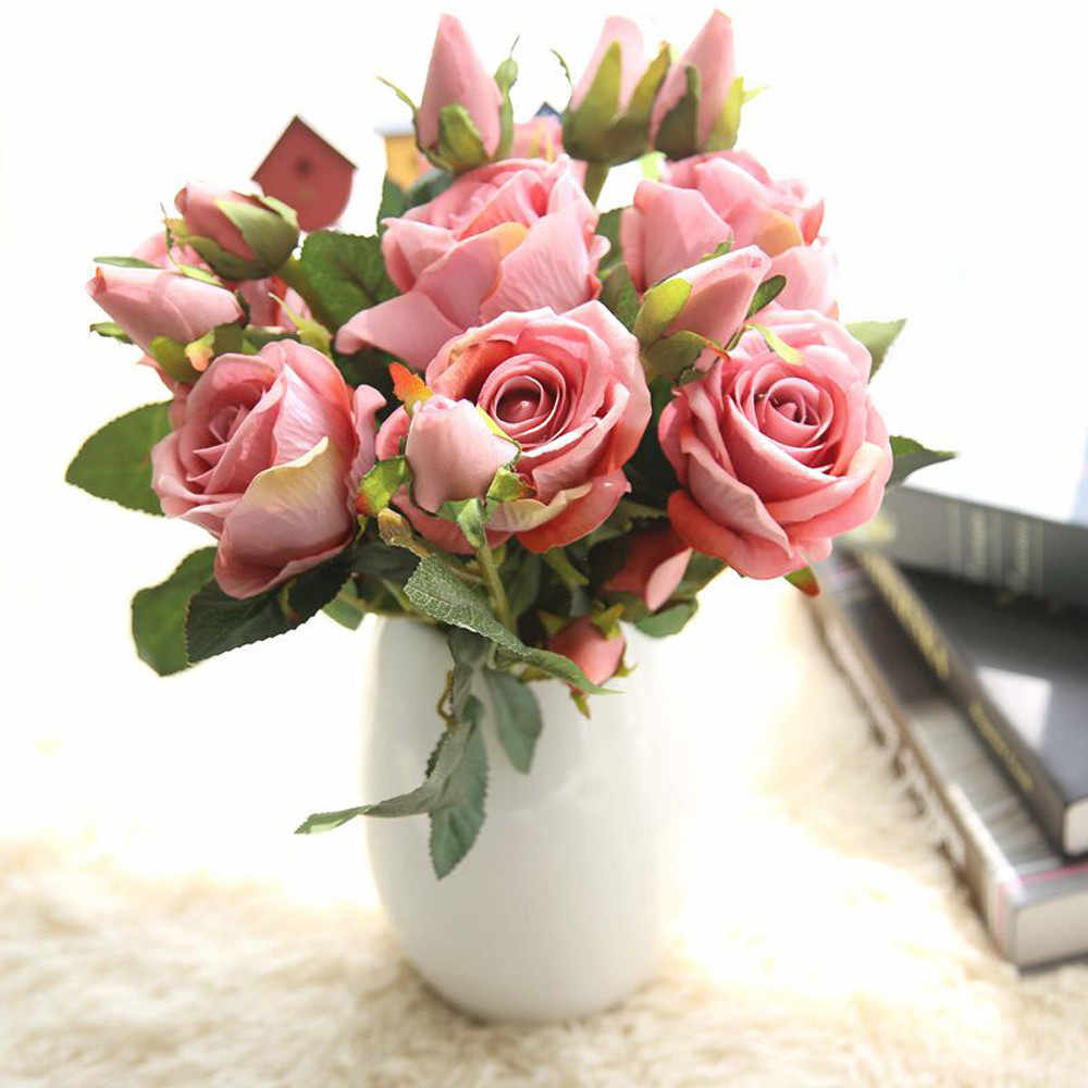 Xmas Decorativa Falso Floral Bouquet Artificial Rosas Falsificadas Flanela Flor Nupcial Wedding Party Bouquet Home Decor USPS # N03