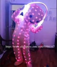 Красочные rgb светодиодные костюмы большая голова куклы бальных танцев Шоу DJ dicso partycatwalk этап носит певица Этап одежда