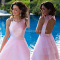 Sexy Short Pink Homecoming Dresses Keyhole Back Tiered Ball Gown Homecoming Dress Mini Graduation Dress Cheap Party Gowns HC48