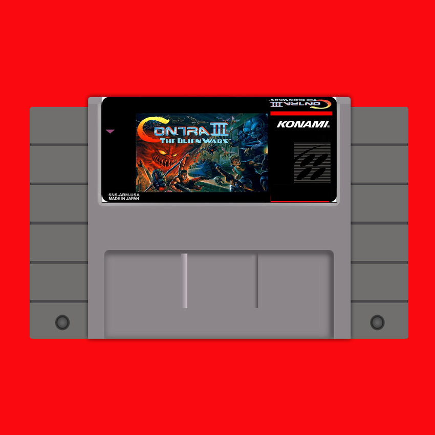 Contra III-The Alien Wars 16 bit Big Gray Game Card For USA NTSC Game Player