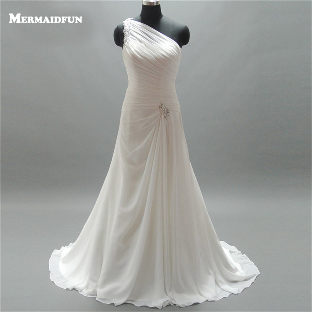 2019 A Line One Shoulder Pleated Beaded Chiffon Floor Length White Ivory Custom Made Long Chiffon Wedding Dress Robe De Marriage