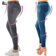 2017 Hot sale women fashion jean leggings style female slim shape pants free size girl trousers fashion jeggings Free Shipping