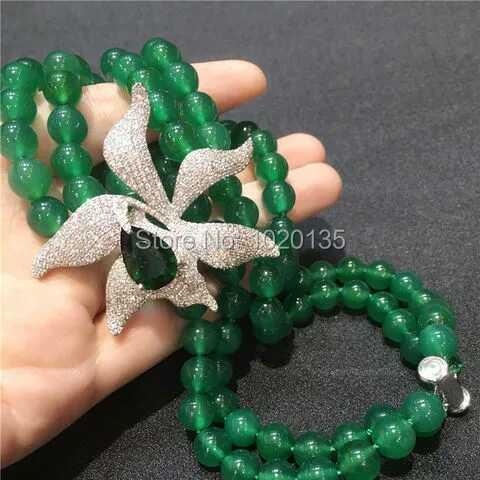 2rows grüne JADE runde Halskette 10mm 18-19inch Großhandelsnatur - Edlen Schmuck - Foto 3