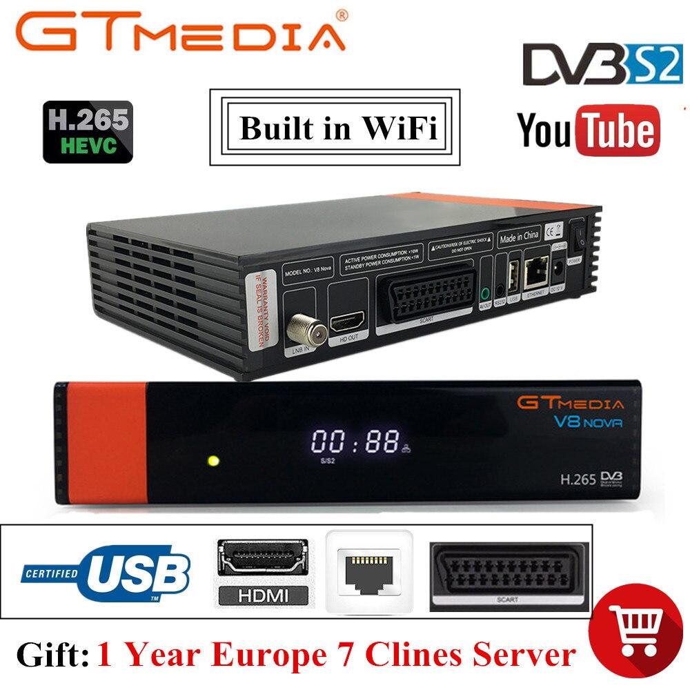 Offre spéciale récepteur TV Satellite Freesat V8 Gtmedia V8 Nova intégré Wifi 1 an Clines pour l'espagne DVB-S2 décodeur Full HD H.265 Sat