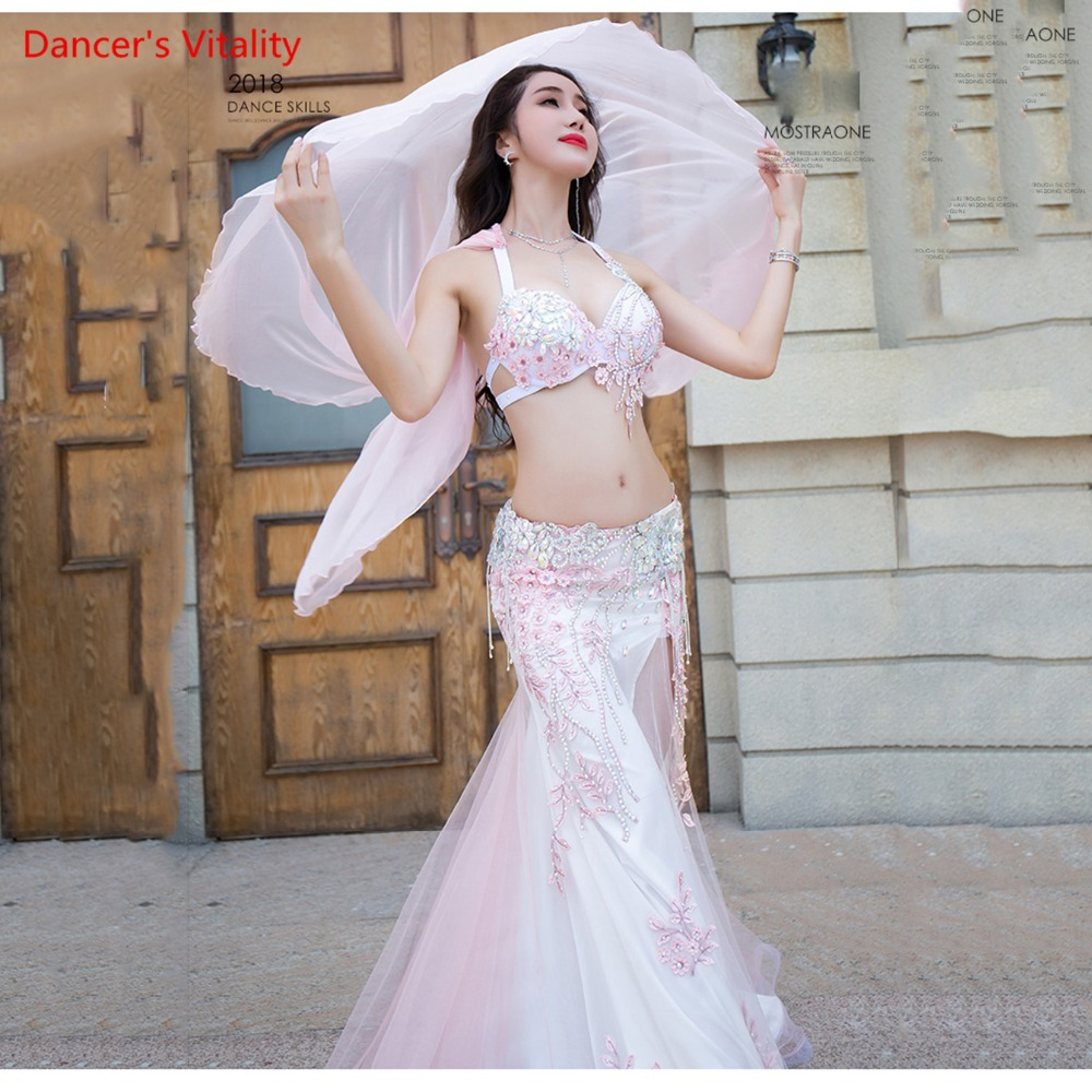 Women Professional Custom Made Performance Belly Dance Show Costume Luxury Bra+sexy Long Skirt Dance Set Pink