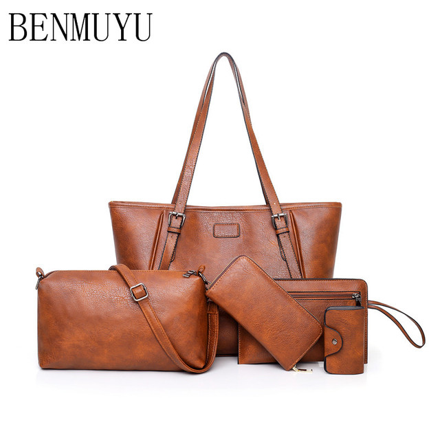 5 Pieces Set Of New 2018 Leather Women S Bags Vintage Oil Wax Handbags