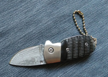 handmade Damascus steel knife Ox horn handle folding pocket knife Manual  portable utility  knife with  Key chain