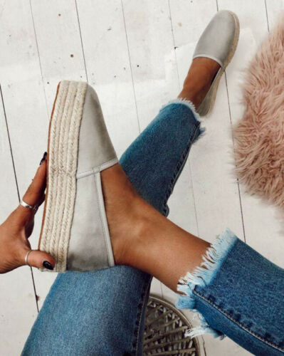 Adisputent Fashion Heels Flats Plimsolls Solid  Ladies Casual Linen Shoes Women  Hemp Shoes Espadrille Fisherman Shoes