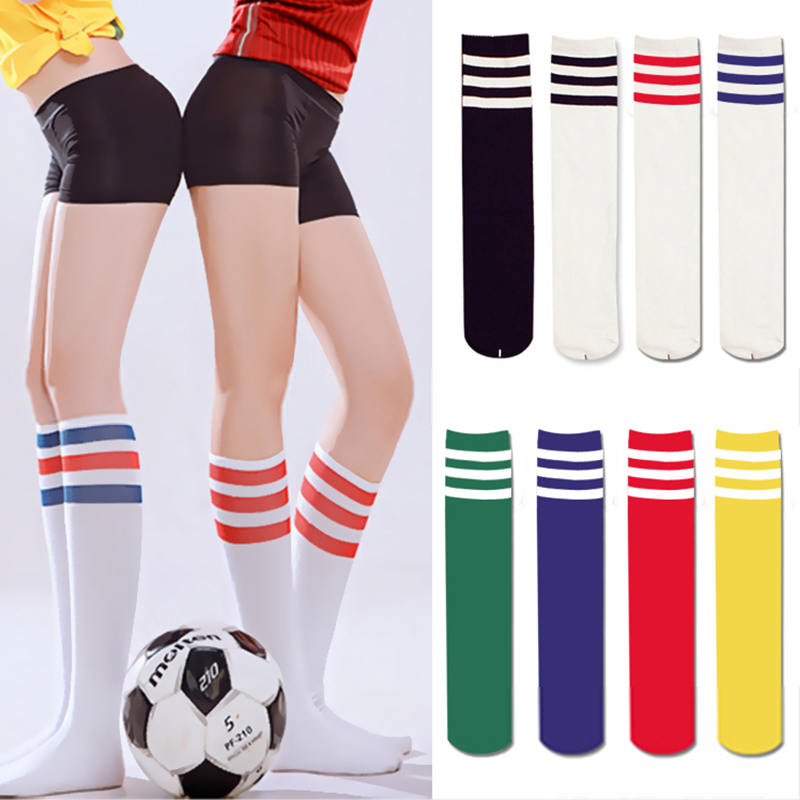 Sexy Women Color Classic Striped Cotton Socks Lacrosse Long Socks Ladies Knee High 3 Line Solid Socks Warm