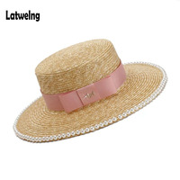 NEW Angel Decoration Fashion Pearl Summer Straw Sun Hats For Women European American Handmade Lady Dinner