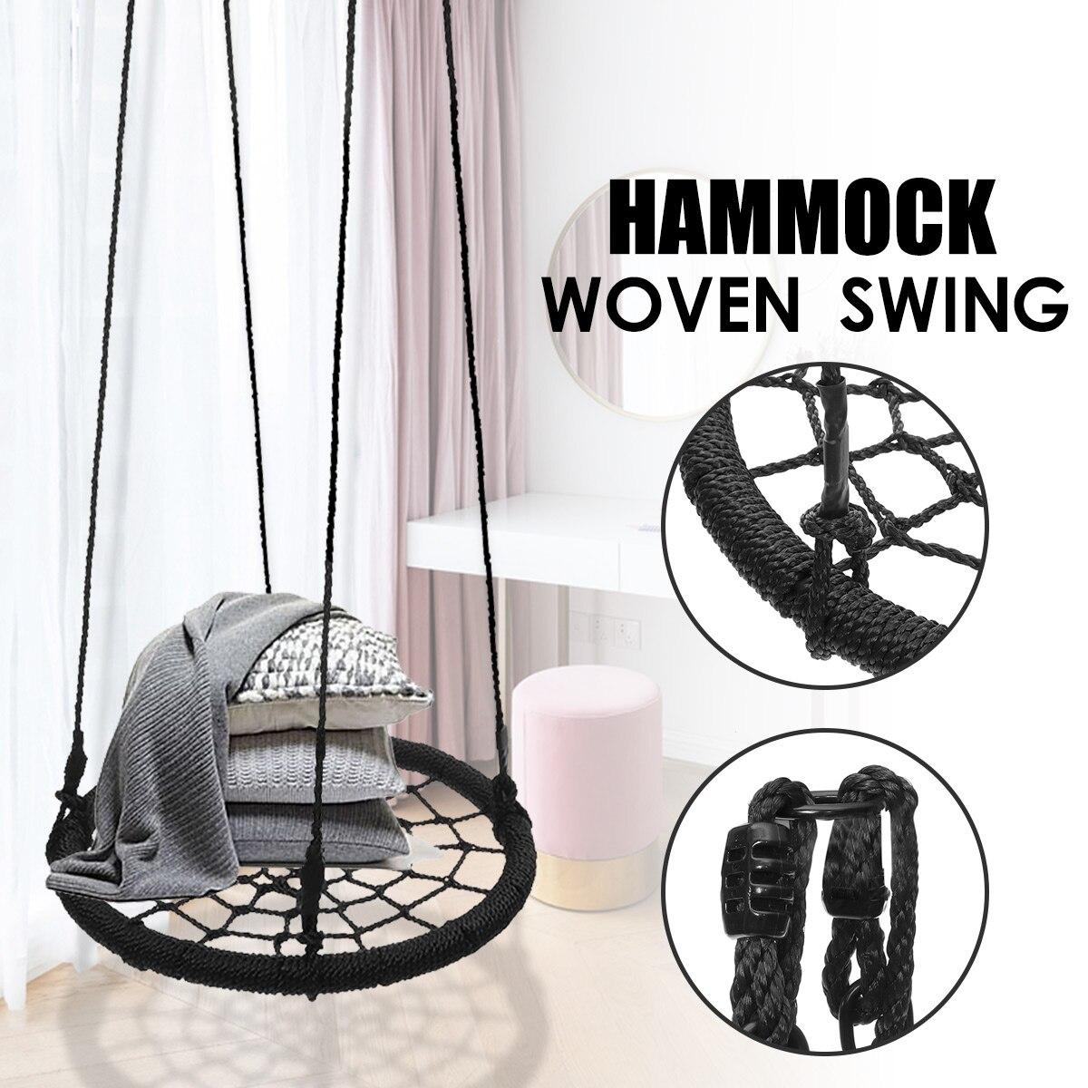 Hamac rond suspendu extérieur intérieur dortoir chambre enfants balançoire lit enfants adulte oscillant suspendu chaise unique maille hamac