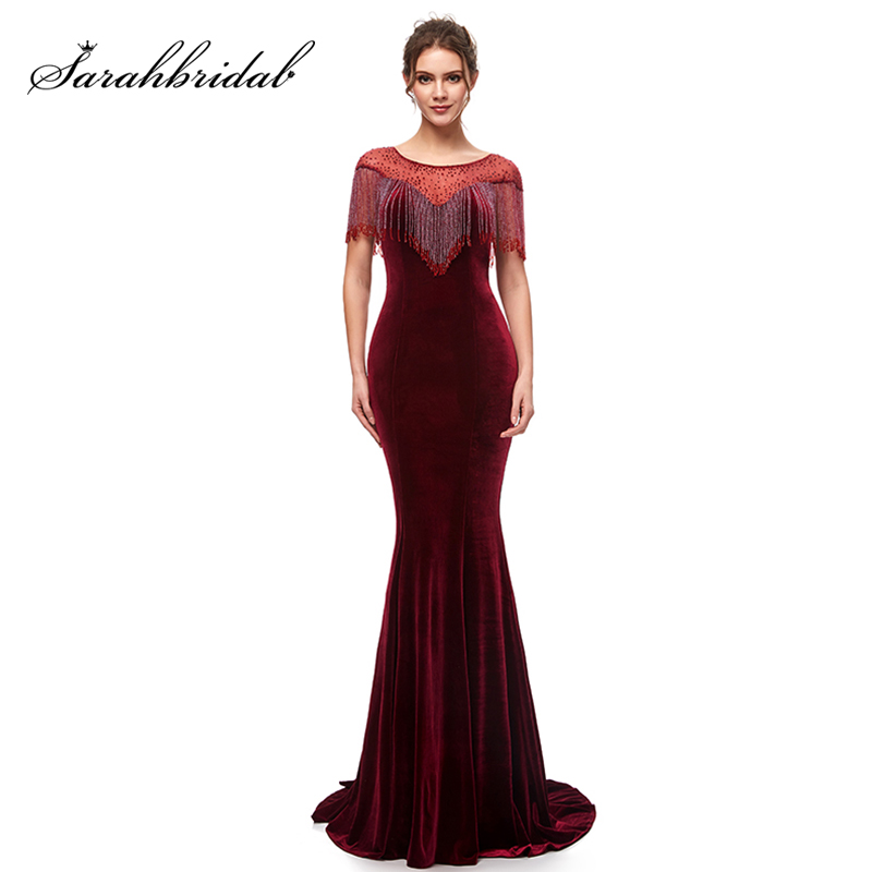 Elegant Long Burgundy Mermaid Evening Dresses Velvet With Tassel Zipper Back Women Formal Evening Party Maxi Gowns L5400