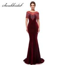 Robe longue de soirée, style bordeaux, forme sirène, en velours, fermeture éclair, dos, dubaï, arabes, femmes, robes de fêtes, L5400