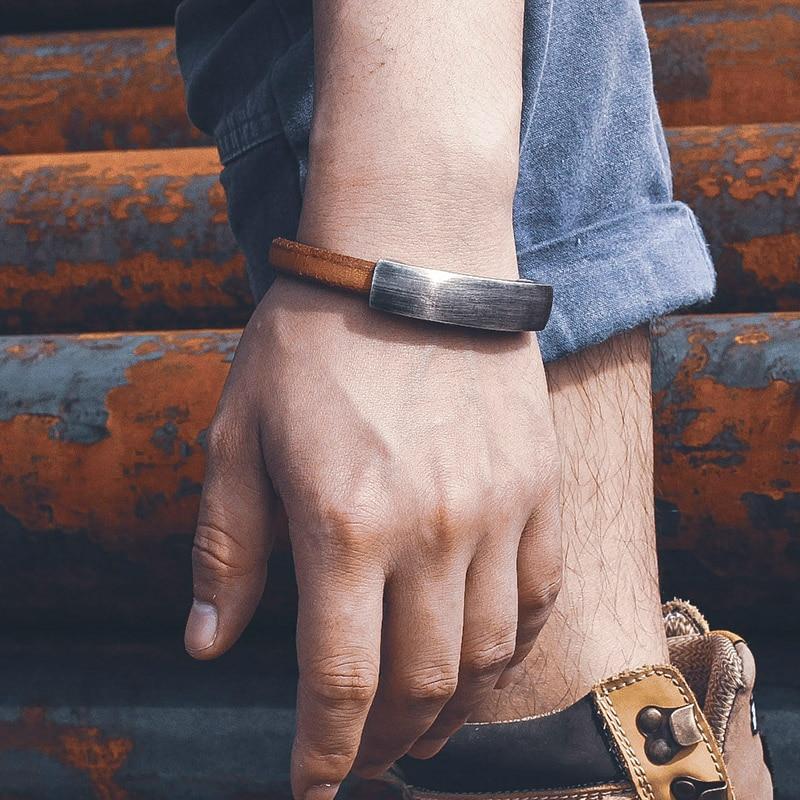Шарм дизайн для мужчин Мода веревка обёрточная бумага браслеты мужской подарок 925 серебряные ювелирные изделия браслет Бе