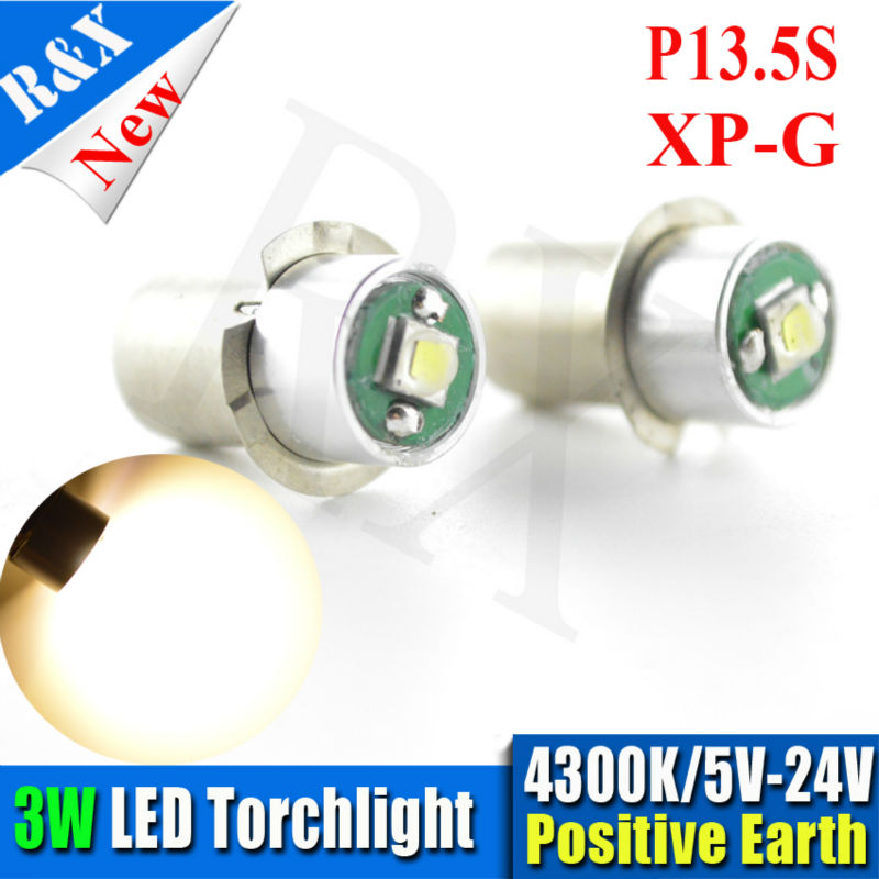 4xXPG Maglite Led Upgrade light Kit Bright Warm White 3W P13.5s PR2 PR3 PR4 5-24V maglite