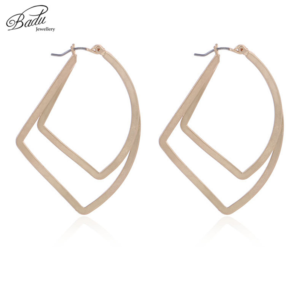 Badu Geometric Hoop Earring Women Twisted Copper Rhombus Vintage Punk Fashion Jewelry Gift Wholesale