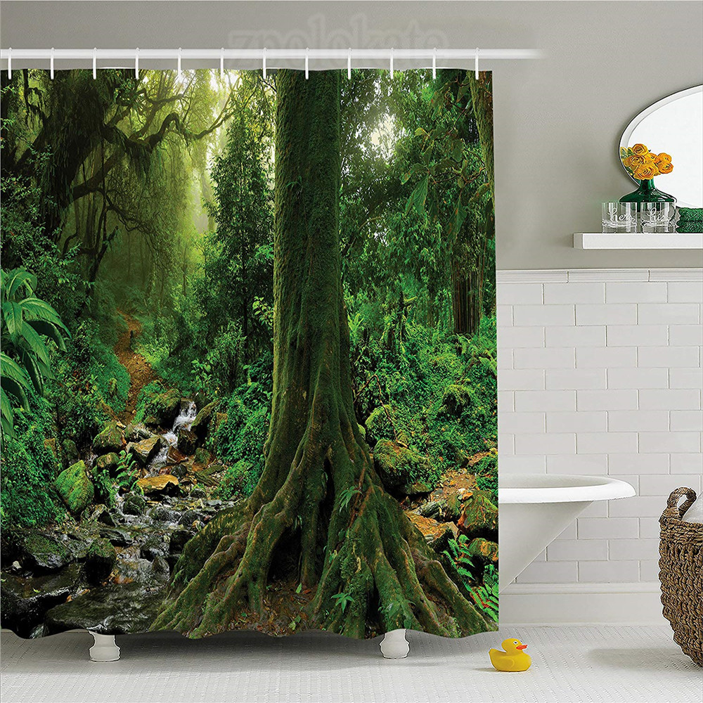 River Forest Apartments: Apartment Decor Shower Curtain Rain Forest Scene With
