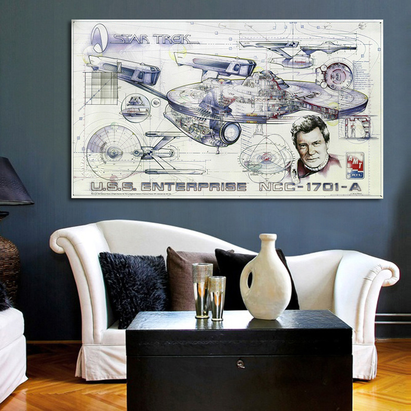 Movie The Star Trek Spaceship Blueprint Canvas Painting Art Wall Pictures For Living Room Home Decor Print Painting image