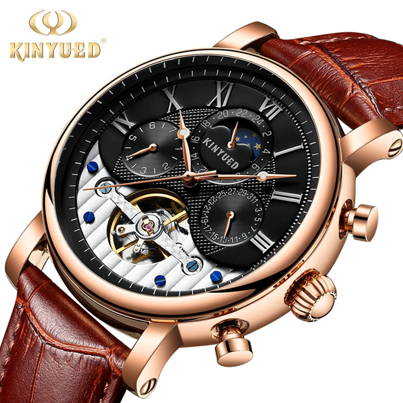 KINYUED Men Vintage Moon Phase Skeleton Watch Male Mechanical Watches Perpetual Calendar Automatic Tourbillon Mens Wristwatch