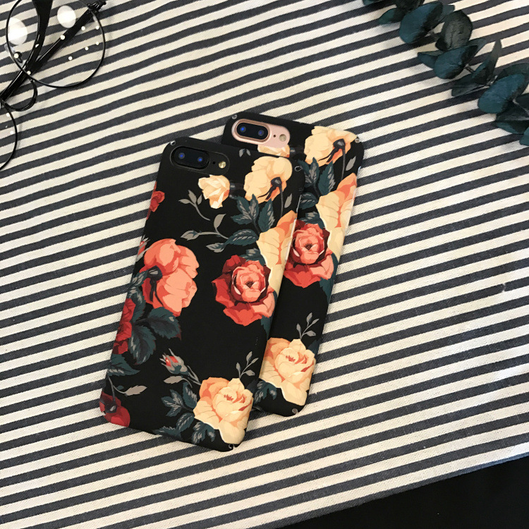 SZYHOME Phone Cases for IPhone X 6 6s 7 8 Plus Retro Rose Luxury Flower Frosted Plastic for IPhone 8 X Cover Case Bag Capa Coque