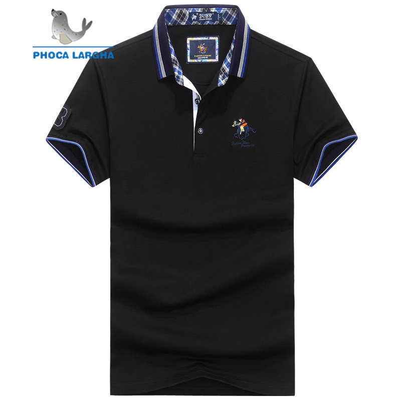 2018 Fashion Summer Men's Short Sleeve   Polo   Shirts Embroidery Cotton Solid Color Horse Male Lapel   Polos   Casual Slim Tops For Man