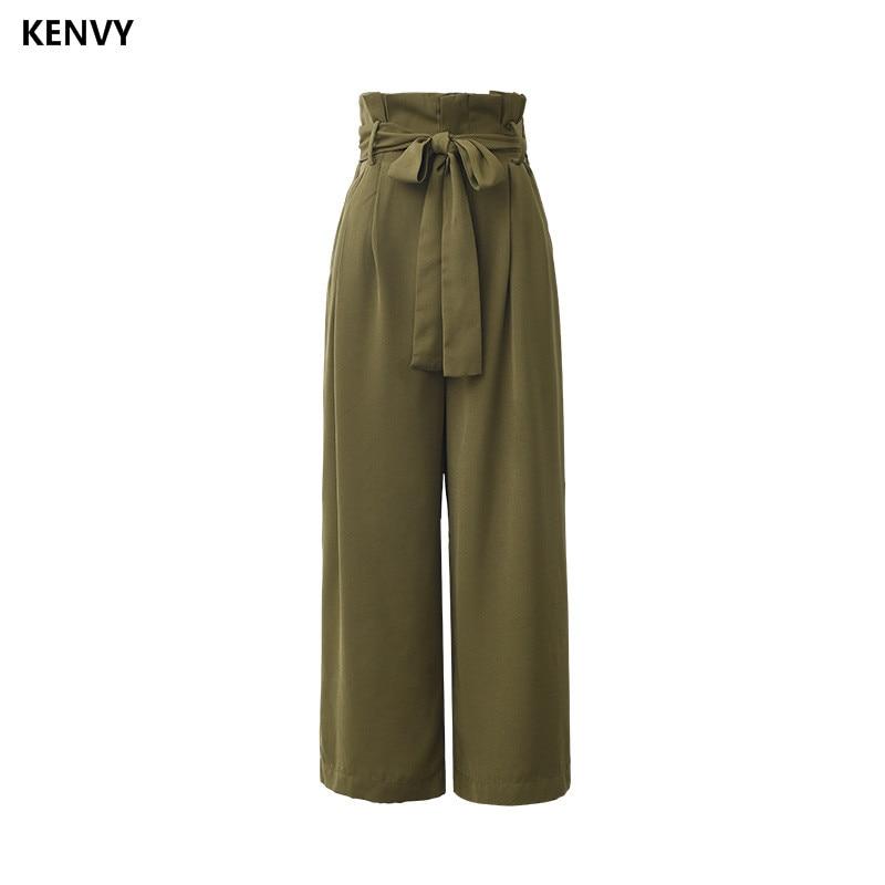 KENVY Brand fashion women's high-end luxury summer casual loose high waist strap nine points   wide     leg     pants