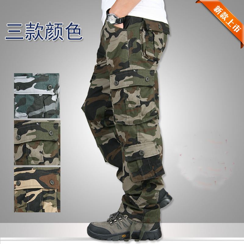 Pocket MILITARY Style Army Camouflage CARGO PANTS Men TACTICAL 6789cmAirborne Jeans Trouser Male Casual Plus Size Cotton baggy#3 14