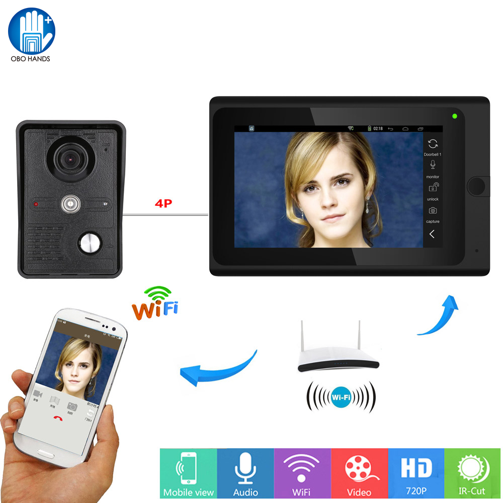 7inch Wifi Video Door Intercom Entry System With Indoor And Outdoor Units Support Remote APP Unlocking,Recording And Snapshot