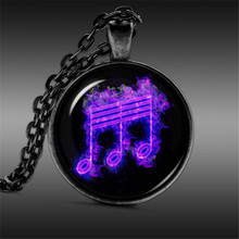 Music necklace Smoke pendant glass dome Blue Jewelry romantic jewelry women men necklace gift