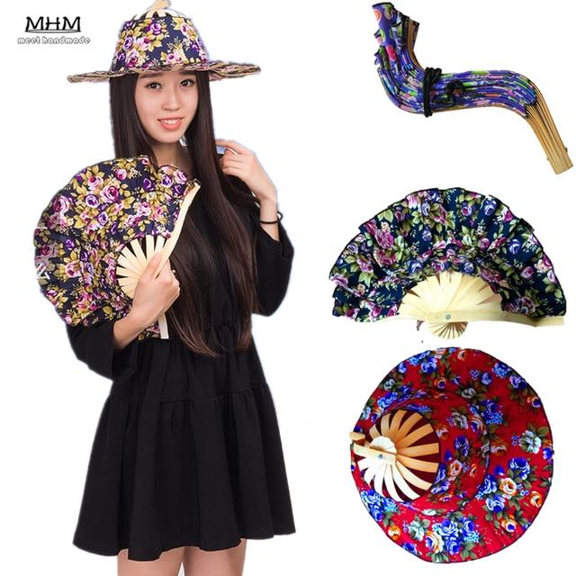 Fashion Sun 1pc Hand Held Folding Fans Traveling Cap Summer Women Girl Hat  Bamboo Dancing Fan Traveling-cap 3a28443a011