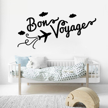Family Wall Decal Quotes Bon Voyage Vinyl Stickers For Livingroom Plane Cloud Pattern Interior Home Decor DIY Mural SYY930